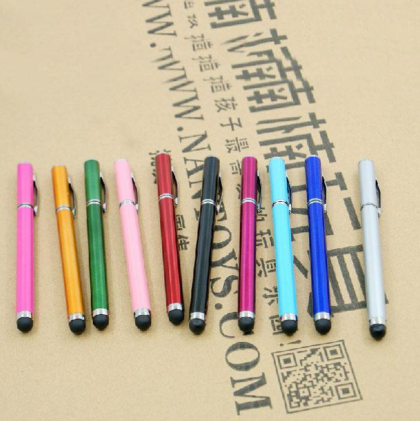 Wholesale 2 in 1 Ball Point Capacitive Screen Stylus Touch Pen For IPhone 7 6 5 4 IPad Samsung Cell Phone Mobile Tablet PC