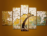 Wholesale trees flower floral painting - 100% hand painted modern abstract oil painting on canvas for decoration charming flower tree free shipping
