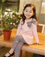 Wholesale Girls Legging Stripes - 2014 kid children's clothing set spring autumn girls clothes long-sleeve bow stripe t-shirt + legging A001