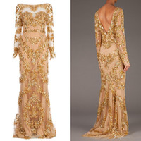 Wholesale Zuhair Real Pictures - 2014 Hot Sale Real Picture Zuhair Murad Long Sleeve Backless Long Prom Gowns Trailing Gold Appliques Illusion Dress Formal Evening Dresses