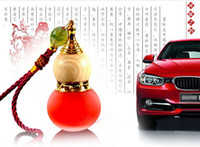Wholesale Chinese Car Perfumes - Wall Room Refillable Essential Oil perfume bottle Empty Glass Chinese gourd pendant car pendant car hanging Ornament +Free Dropper Tool PB23