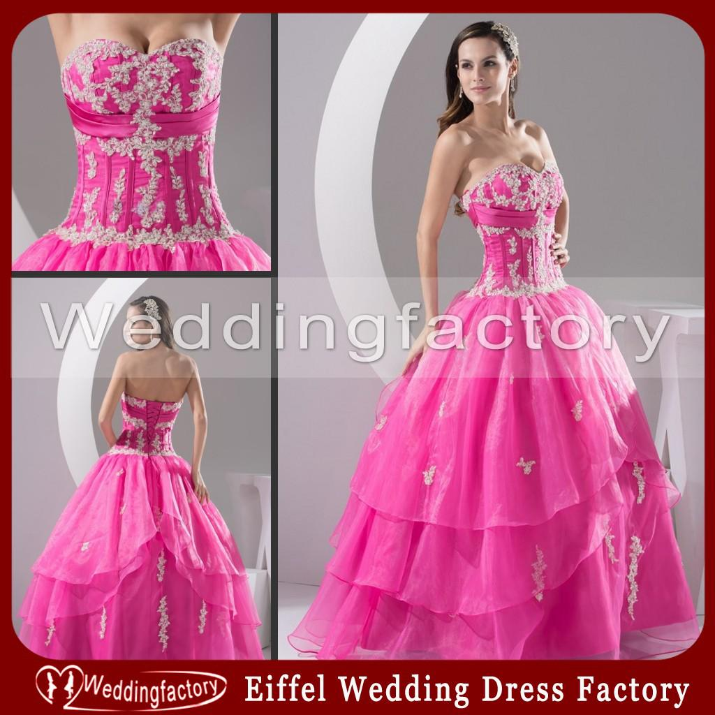 Lovely Hot Pink Wedding Dress Ball Gown Strapless