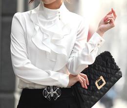 más el tamaño de las tapas de organza Rebajas Promocional nueva moda mujer camisas OL vestido camisa moda tops faux manga larga blusa sexy para office lady CS4456