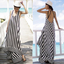 Black and white striped backless maxi dress