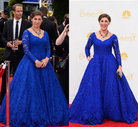 Wholesale communion dresses size 14 - Blue Lace Celebrity Dress Vintage 2017 Emmy Awards Mayim Hoya Bialik New Arrival Party V Neck Long Sleeves Evening Gown Communion Dresses