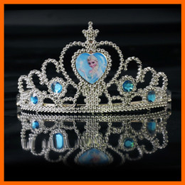 Wholesale Diamond Pageant Dresses - frozen crown tiara dress Elsa Anna princess crowns hearts diamond tiara baby girls party hair accessories pageant hairban(1704001)