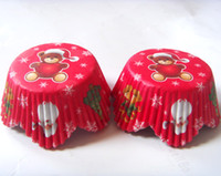 Wholesale Cup Cases Petals - 500pcs free shipping Red Christmas Bear Petal shape Paper Cake Cup mold Cupcake Liner Decoration Muffin Case Chocolate Bake Mold baking tool