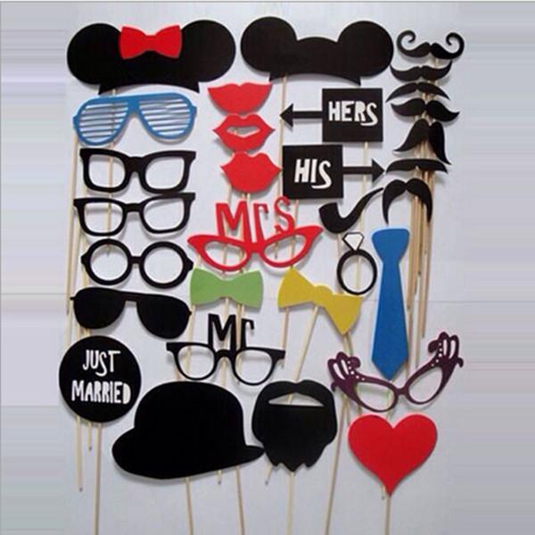 1 conjunto / 31 pcs diy partido máscaras cabine de fotos adereços bigode em uma festa de casamento vara favor