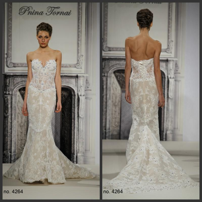 Hot Sale Elegant Wedding Dresses Bridal Pnina Tornai 4264 Ivory Lace ...
