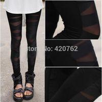 siyah tozlukları kes toptan satış-2014 Yeni Yaz Kadın Yeni Moda Cut-out Delik Yırtık Bandaj Seksi Tayt Pantolon Kapriler Siyah