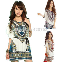 Wholesale Silk Mini Tunic Dress - New 2014 Fashion Vintage Summer Women Ladies Casual Dress Silk Batwing Sleeve Tunics Folk Print Bohemia Beach Dresses 3 Size