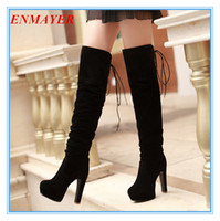Wholesale Ladies Long Shoes For Winter - ENMAYER big size34-43 high Over-the-Knee boots for women Flock Tassel ladies long boots sexy winter shoes