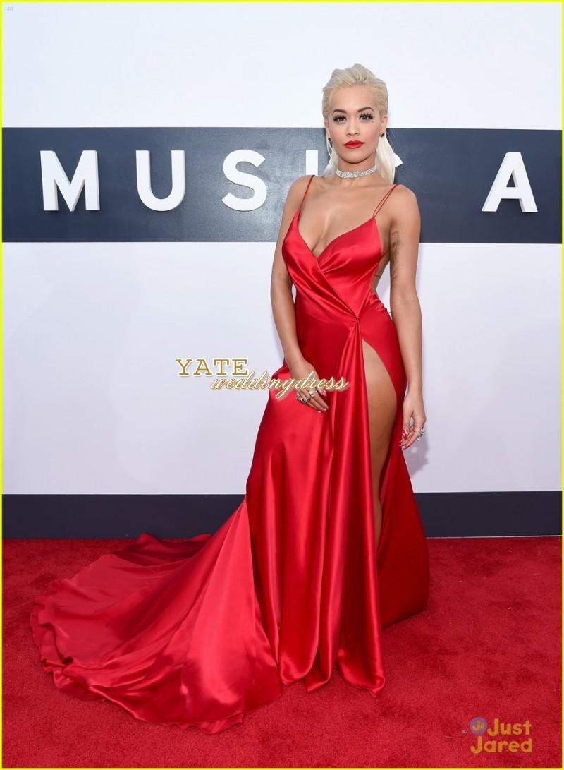 Heißer verkauf roter teppich rita ora mtv vmas sexy v-neck mantel sexy seite split abend kleider prominente kleider