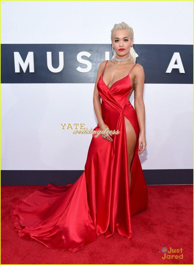 Venta caliente Alfombra roja Rita Ora MTV VMAS Sexy Cuello en V Funda Sexy Lado Split Split Vestidos de noche Vestidos de celebridades