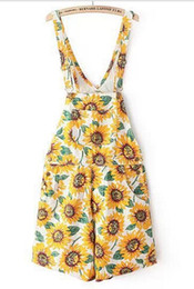 Wholesale Sunflower Pants - A1-x313 European American sunflower printed high waist jeans Hot pants women's overall shorts Jumpsuits & Rompers Freeshipping