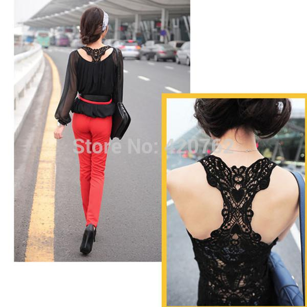 top popular 2014 New Summer Fashion Women Lace Back Crochet Camisole Cami Hollow-out Vest Tank Top T-shirt Size S-L 2020
