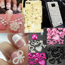 Wholesale 3d Nail Art Pearls - Wholesale 800pcs One Pack Nail Art Tips Design Phone Cover Decorations Gems Pearl Beads Decor 3D Craft Scrapbook DIY