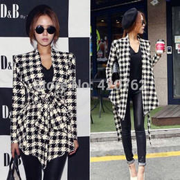 Wholesale Outerwear Jackets Belt - 2014 New Fashion Casual Women Vogue Long Sleeve Houndstooth Knitting Jacket Outerwear Clothing Coat Tops Cardigan Belt Peplum