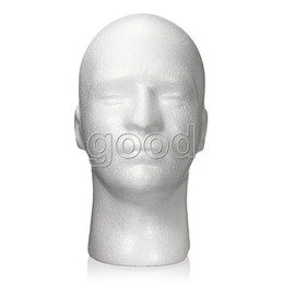 Wholesale Mannequin Male - Free Shipping Male Men Foam Styrofoam Display Head Mannequin Stand Manikin Model Glasses Wig Hat Show Plus Size