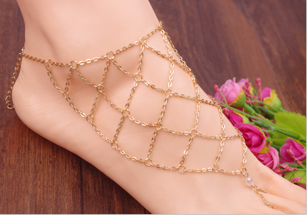 1PC Gold Bridal Barefoot Net Sandal Beach Anklet Foot Chain Thong Toe ring