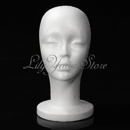 Wholesale Foam Mannequins - Mannequin Display Foam Head Female Model White For Hat Hair Wigs Headset Microphone Free Shipping