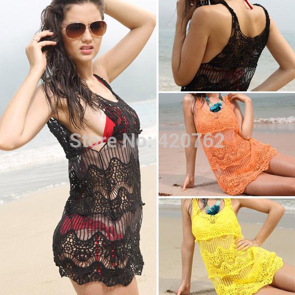 Nouveau 2014 maillot de bain bikini couvrir jusqu'à robe de plage dentelle creux crochet sans manches à long haut maillot de bain robe de plage