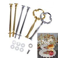 Wholesale cake stand centre handle resale online - New Warm Silver Gold Mix or Tier Auspicious Cloud Cake Stand Fitting Centre Handle Plate Kit
