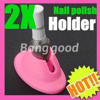 lacklack großhandel-2 stücke DIY Salon Gummi Nail art Tipps Polnischen Lack Flasche Ausstellungsstand Halter Werkzeug Freies Verschiffen
