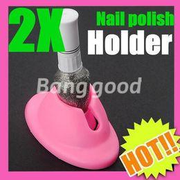 Wholesale Wholesale Stamping Nail Art - 2pcs DIY Salon Rubber Nail Art Tips Polish Varnish Bottle Display Stand Holder Tool Free Shipping
