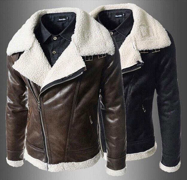 2014 New Arrive Lamb Fur Lining Men'S Leather Jacket Oblique ...