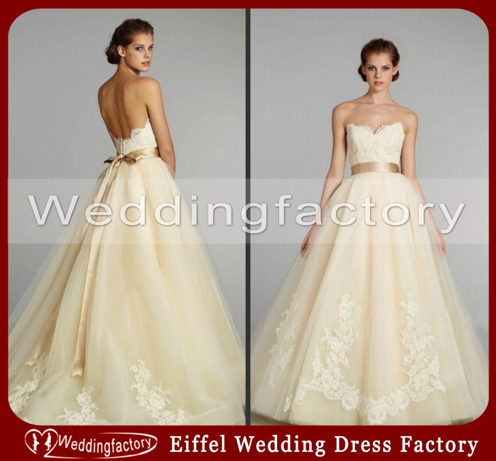 Vintage Brown Or Red And Cream Wedding Dresses Ball Gown Strapless ...