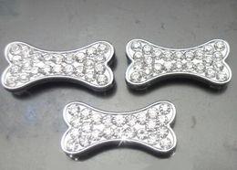 Dog Collars Rhinestone Bones Canada - 100pcs lot 10mm rhinestones dog bone slide charm fit for 10mm pet collar leather wristband bracelet