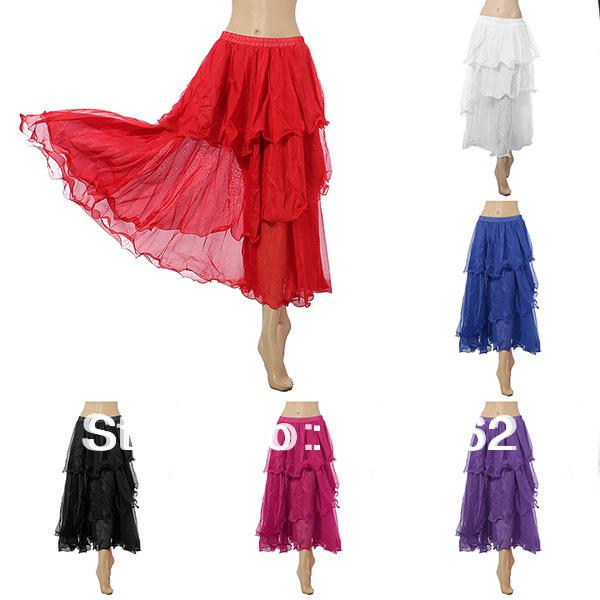 best selling Free Shipping Wholesale Hot Charming Elegant Belly Dance Costume 3 Layers Circle Spiral full Skirt 6 Colors