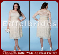 Wholesale Champagne Young Bridesmaids Dress - Modest Plus Size Bridesmaid Dresses with Sleeves 2016 Glamorous Sheer Lace Crew Neckline and Embellished A-line Young Girl's Party Dresses