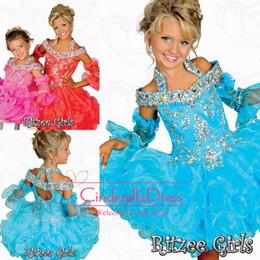Wholesale Ritzee Girls Tutu - 2016 Tutu Girl's Pageant Dresses Ritzee Girls Beaded Halter off shoulder Tiers Organza Off Shoulder Backless Mini Girl Princess Gowns B526