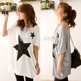 Wholesale Free Shirt Patterns For Women - 2014 New Summer Oversized Baggy Tops For Women Five-point Star Patterns Tee T-shirt Plus Size