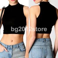 Wholesale Polo Vest Xl Black - 2014 HOT M-XL Womens Black Vest Cotton Polo Neck Crop Short Top T-Shirt Sleeveless Vest Tops Casual Free Shipping