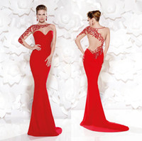 Wholesale Tarikediz Evening Gowns - 2015 Mermaid Red Satin Beading Prom Dress Bateau Neckline Illusion Long Sleeve Evening Gowns Sheer Back Sexy Tarikediz Long Formal Dresses
