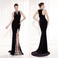 Wholesale Tarikediz Evening Gowns - 2015 Mermaid Black Satin Crystal Beading Prom Dress High Neck Sleeveless Evening Gowns Tarikediz Zipper Back Split Side Formal Dresses