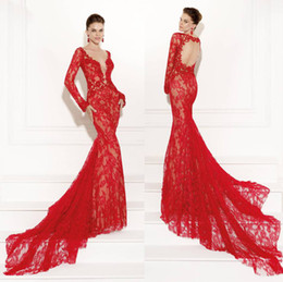 Wholesale Tarikediz Evening Gowns - Sexy 2015 Mermaid Red Lace Appliques Prom Dress Crew Neck Illusion Long Sleeve Backless Evening Gowns Tarikediz Long Formal Dresses