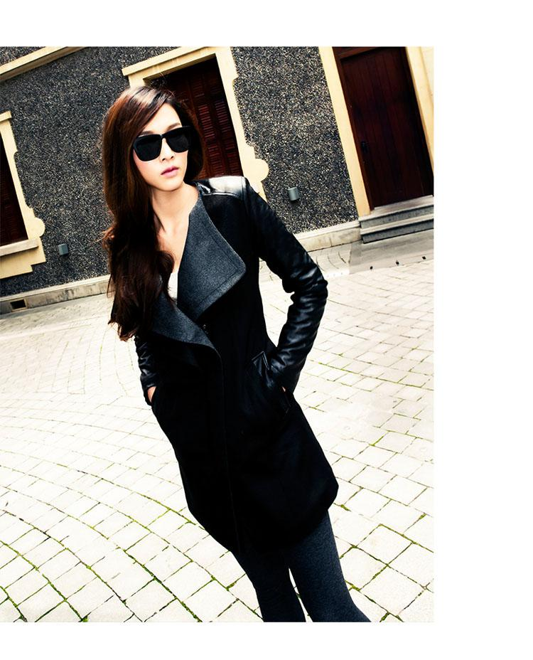 2017 Winter Jacken Mantel Hot Fashion Frauen Reiter Jacken Runway Mantel Mannish Damen Lange Lederhülse Trenchcoat Strickjacke Parka W35