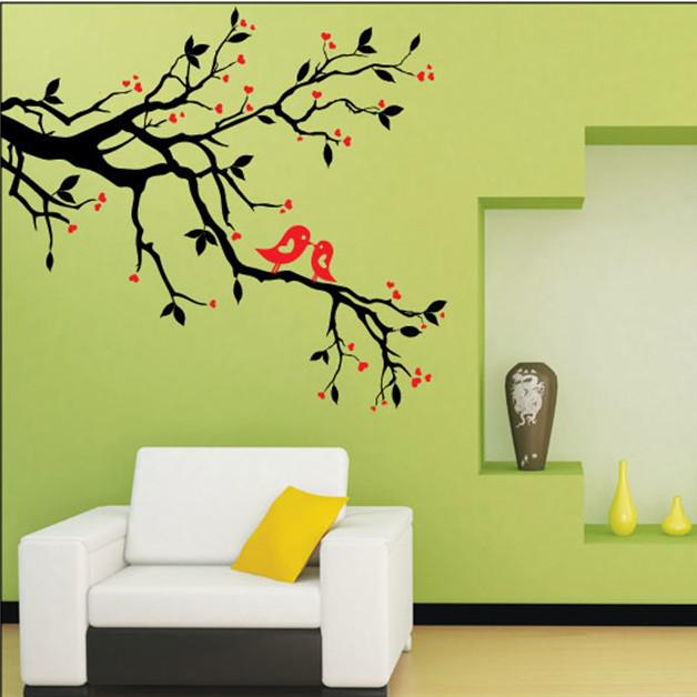 Wall Art Murals Stickers Home Decor Tree Branches Leaves Love Birds ...