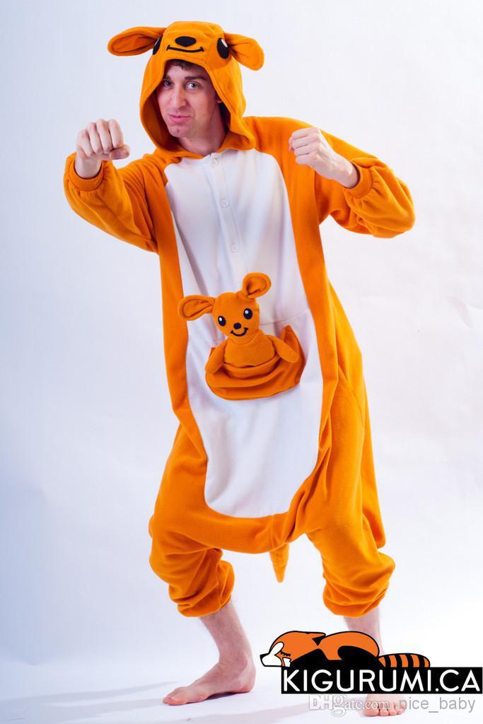 9263eb0afea6 Kangaroo Kigurumi Onesie New Winter Unisex Adult Pajamas Cosplay Costume  Animal Nightwear Onesie Sleepwear Kangaroo Pet Halloween Costumes Dog  Halloween ...