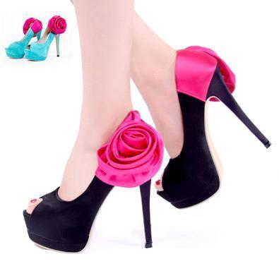 Hot Pink Rose Satin Heels With Flower Sexy High Heel Platform ...