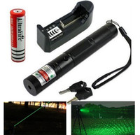 Wholesale Green Lasers Key - High Powered Lazer 303 Green Laser Red laser Green Laser Pointer Pen Zoom teaching pen +18650 battery+charger+key