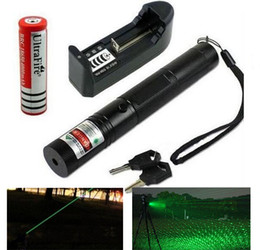 Wholesale High Burning Green Lasers - High Powered Lazer 303 Green Laser Red laser Green Laser Pointer Pen Zoom Burning Matchs+18650 battery+charger+key