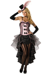 Wholesale Fancy Dress Burlesque - 4PC Set S,M,L XXL XXXL New Arrival Woman Halloween Costume High Quality Burlesque Beauty Costume Sexy Saloon Girl Can Can Fancy Dress 8822