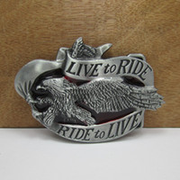 Alloy pewter animals - BuckleHome Live to ride belt buckle eagle belt buckle with pewter finish FP