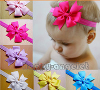 Wholesale Grosgrain Ribbon Flowers - 50pcs DIY BABY grosgrain ribbon bows bowknot Head Flower Hair Accessories with Iridescent Elastic hair head SG8545