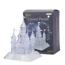 3d Castles Canada - Wholesale-Free Shipping 3D Crystal Puzzle Jigsaw Model DIY Castle IQ Toy 105 Pcs With Manual for kids